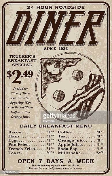 Old Fashioned Retro Roadside Diner Advertisement