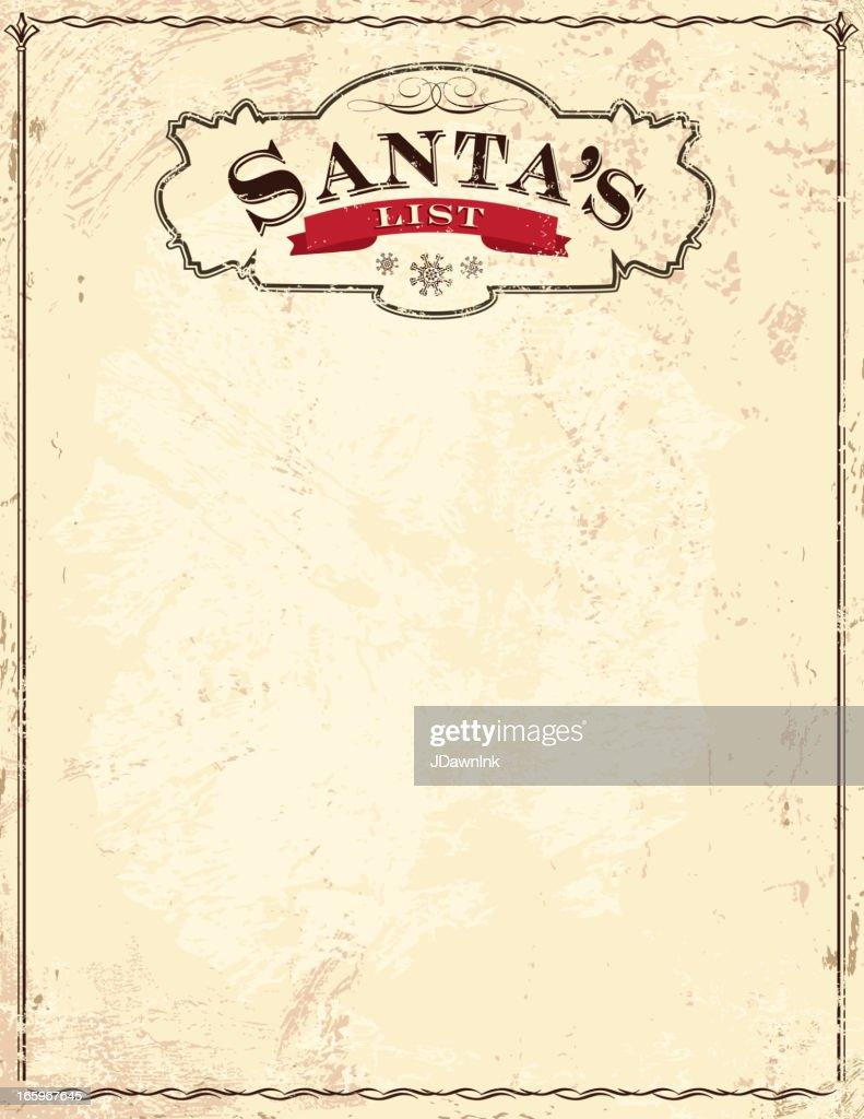 Old fashioned Santa's List : stock illustration
