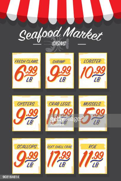 old fashioned seafood market paper signs set - awning stock illustrations, clip art, cartoons, & icons