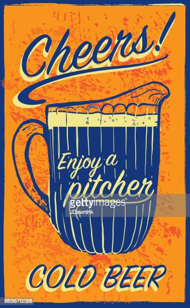 old fashioned sign advertisement with beer pitcher and text - jug stock illustrations, clip art, cartoons, & icons