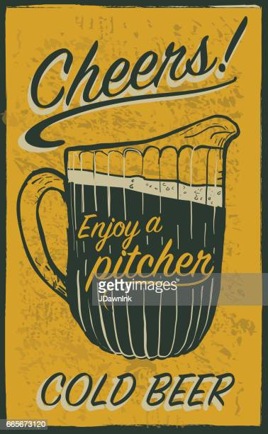 old fashioned sign advertisement with beer pitcher and text - sayings stock illustrations