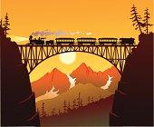 Old Fashioned Steam Train Crossing the Mountain Bridge