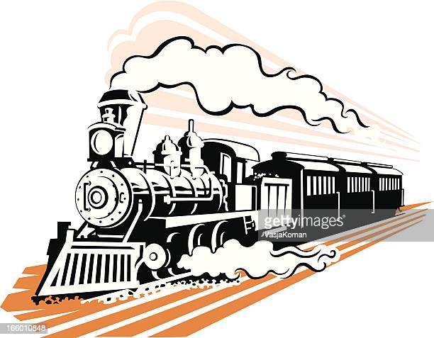 old fashioned steam train in black and white - steam train stock illustrations