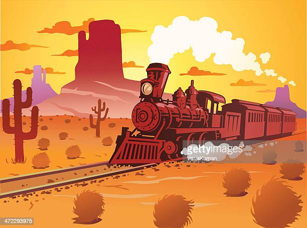 Old Fashioned Steam Train in the Desert