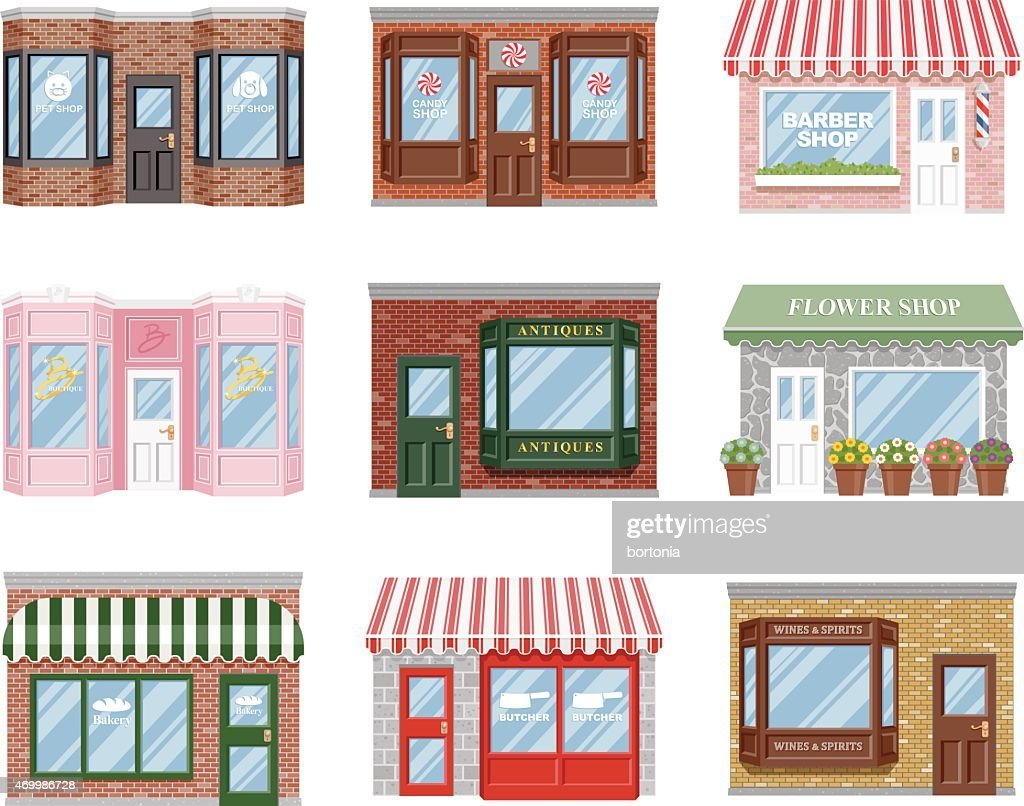 Old Fashioned Storefront Icon Set