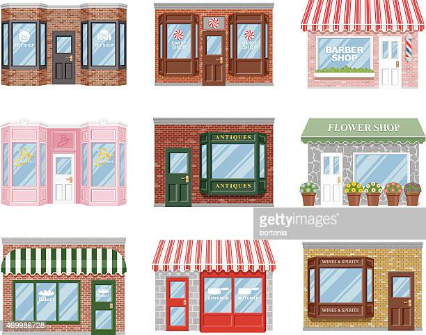 old fashioned storefront icon set - small business stock illustrations