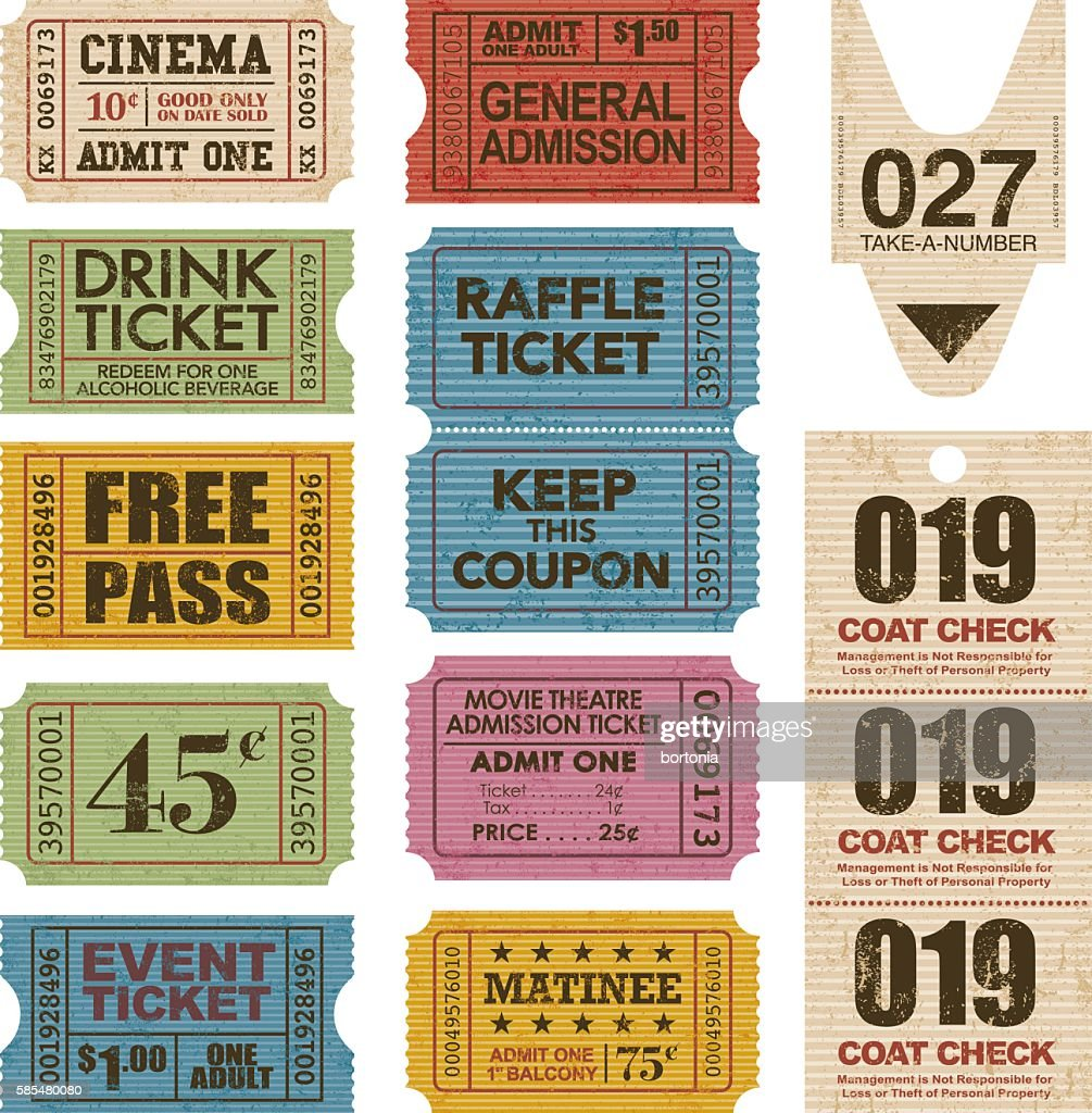 Old Fashioned Ticket Stub Icon Set
