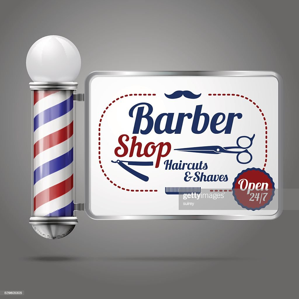 Old fashioned vintage silver and glass barber shop pole