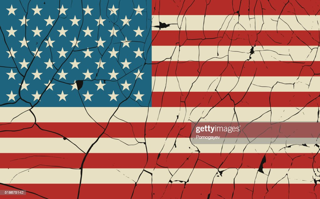 USA old flag with fracture
