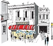 Old French cafe vector illustration with quaint buildings.