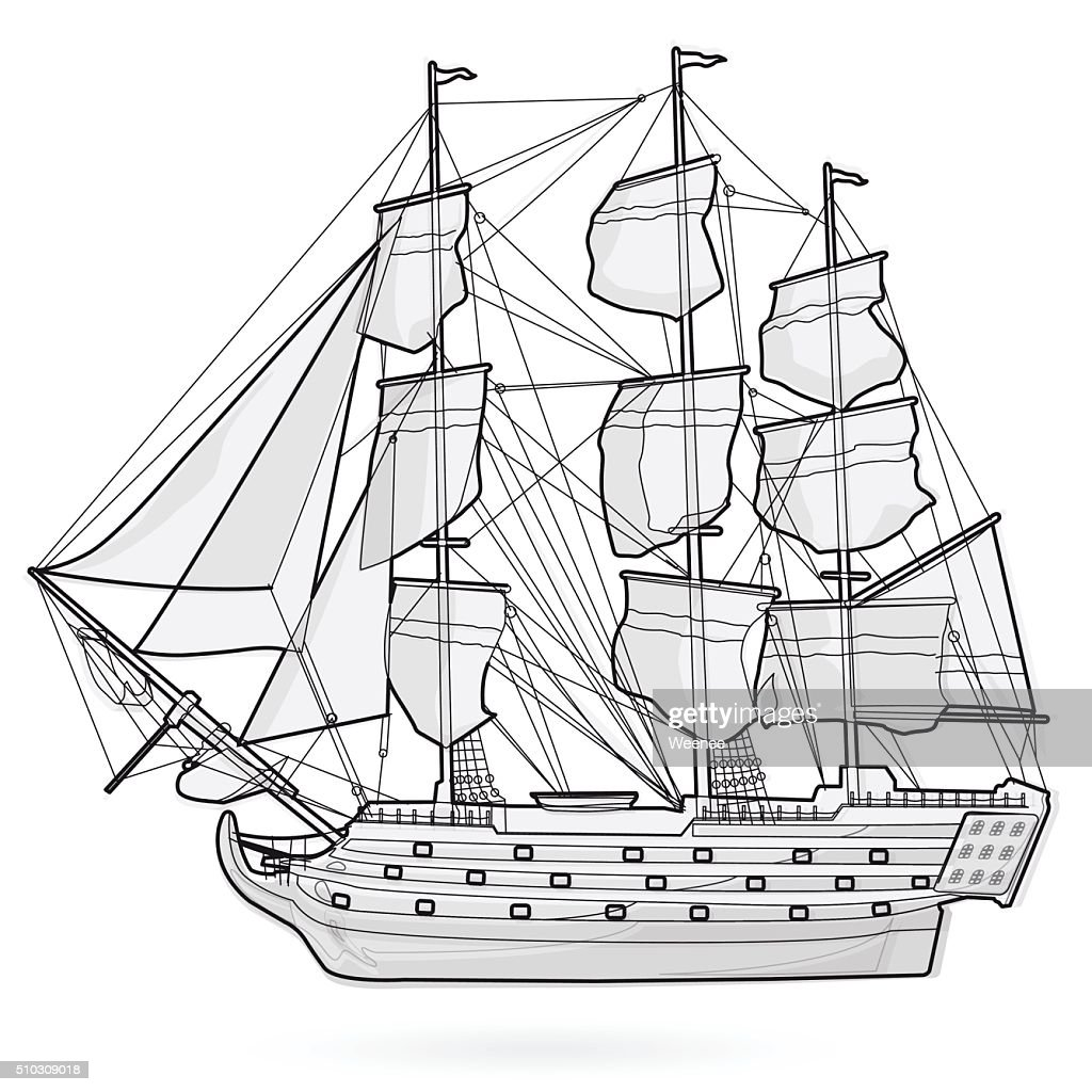 Old galleon corvette wooden historical sailing wire boat pirates ship.