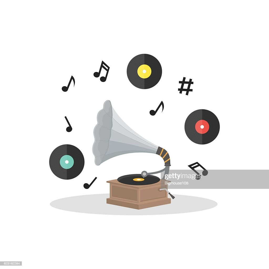 Old Gramophone and Vinyl Disc Set. Vector