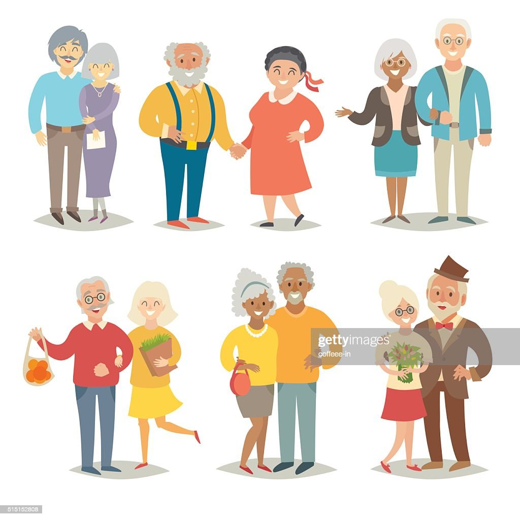 Old happy family. Pensioner happy family. Cartoon characters