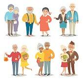 Old happy family. Pensioner happy family. Cartoon characters