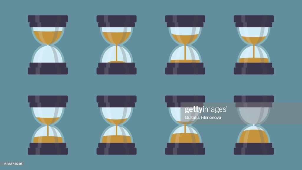 Old hourglass set showing different time.