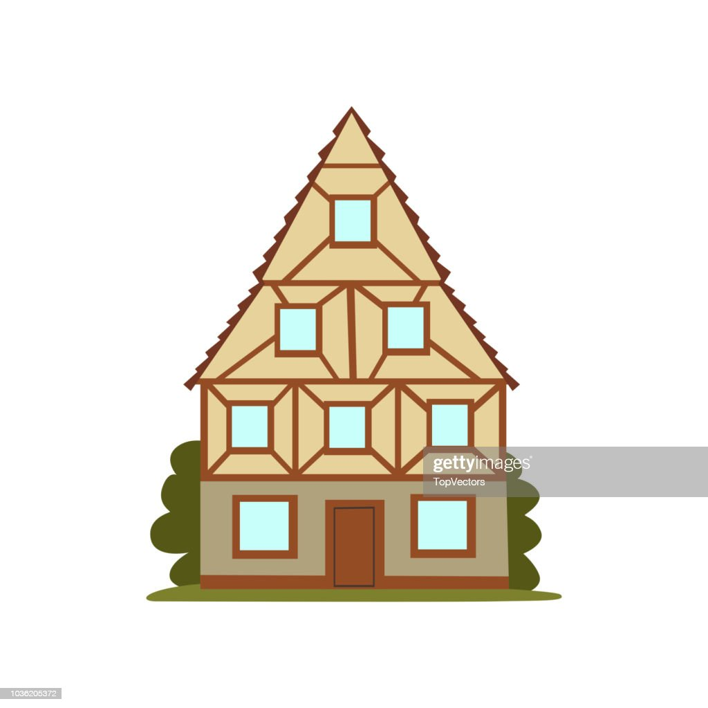 Old house, retro architecture city building vector Illustration on a white background