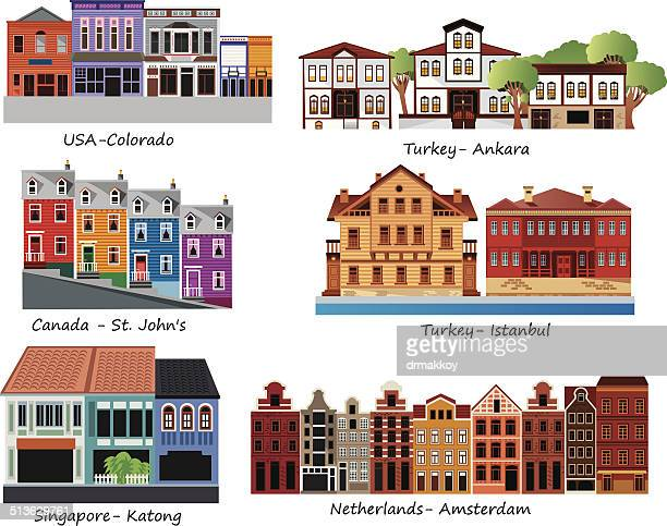 old houses - amsterdam stock illustrations, clip art, cartoons, & icons