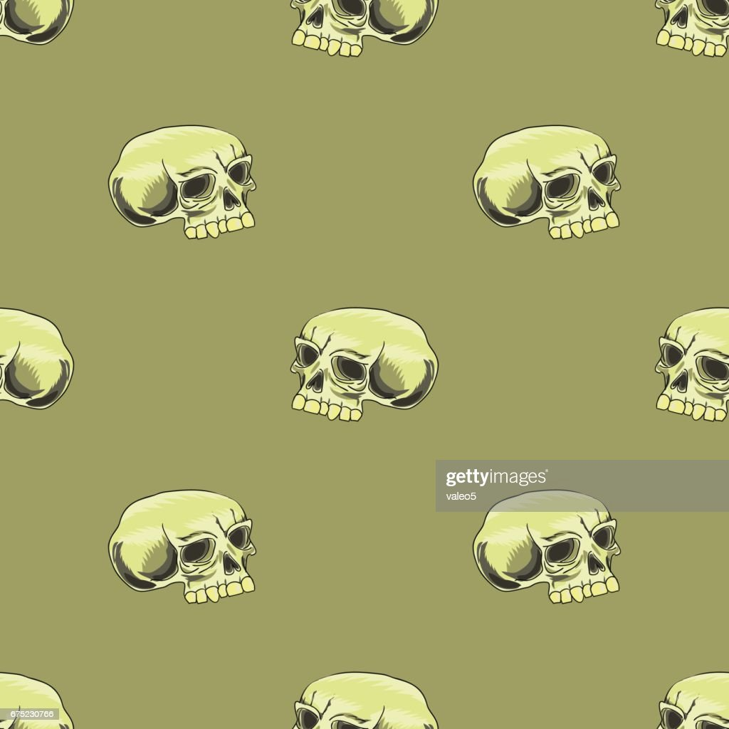 Old Human Skull Seamless Pattern