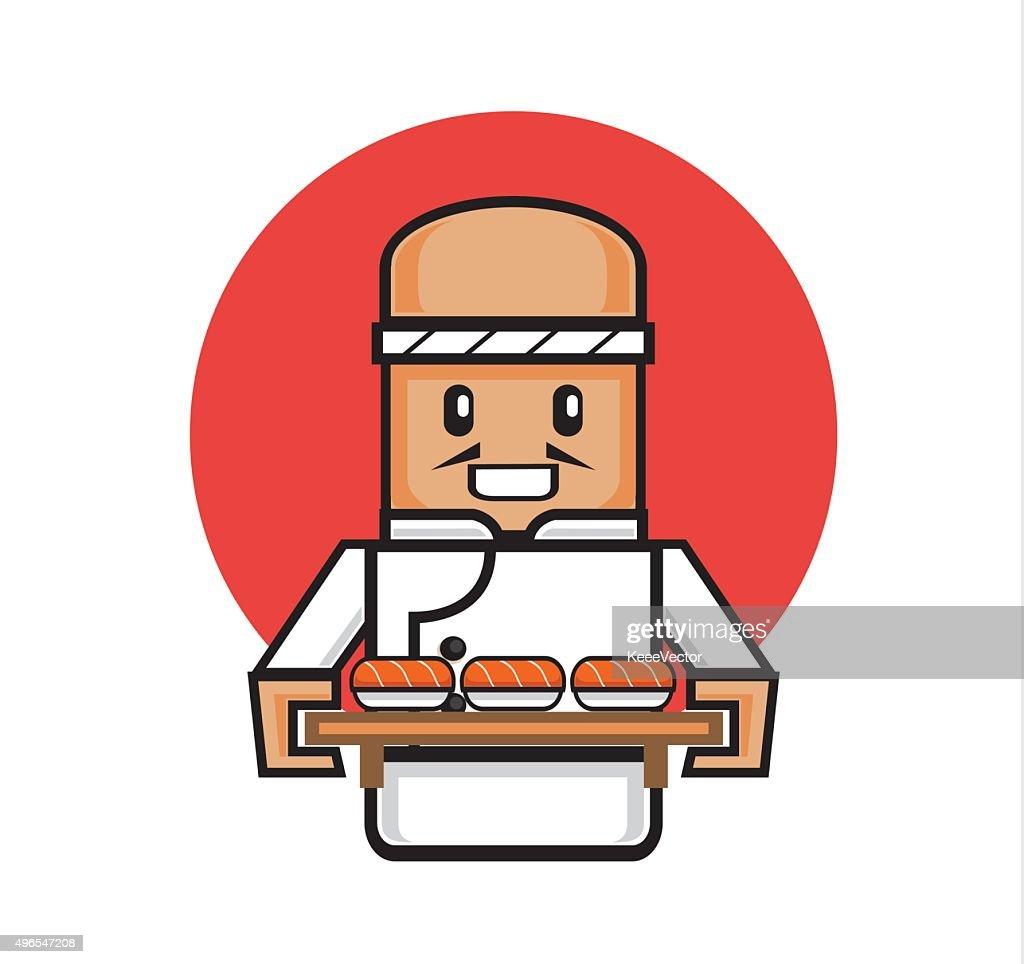 old japanese chef serve sushi