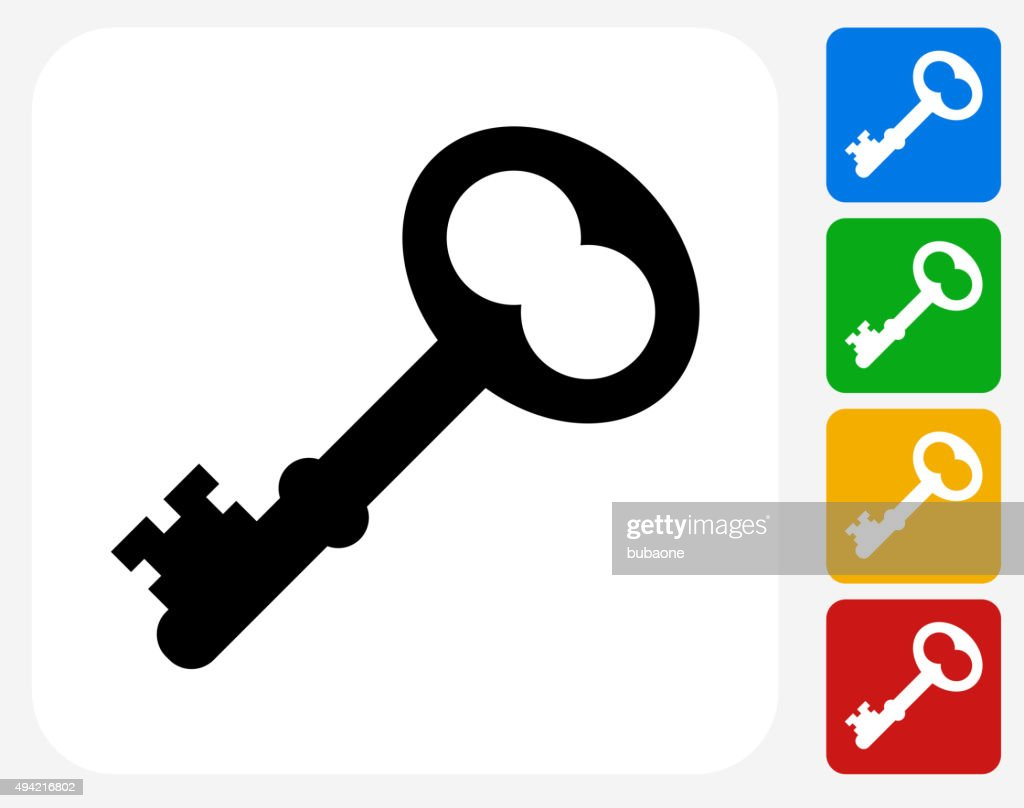 Old Key Icon Flat Graphic Design