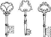 Old key sketletons in sketch style