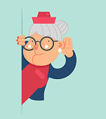 Old Lady Gossip Listen Overhear Spy Out Corner Adult Cartoon