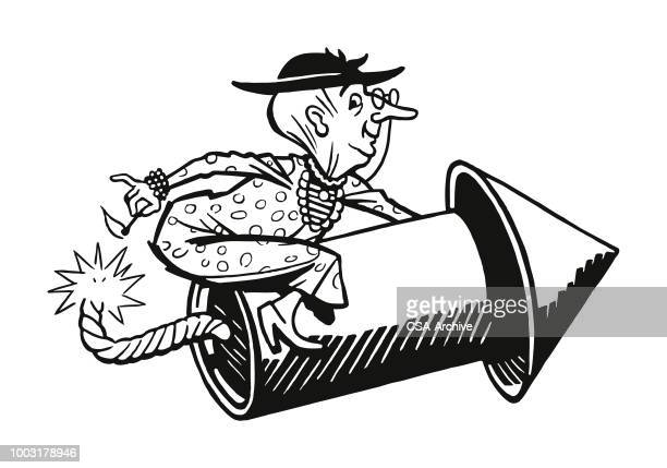 old lady riding a firecracker - firework explosive material stock illustrations