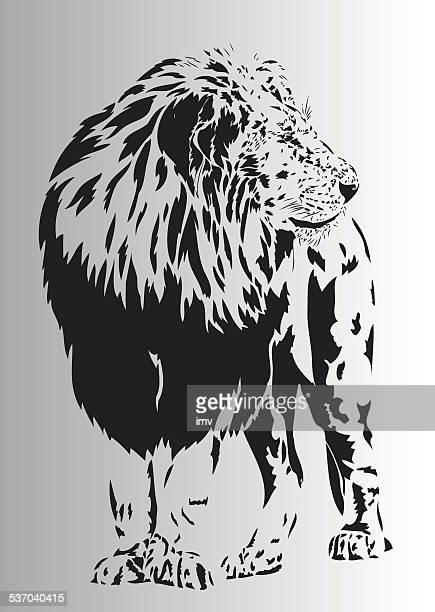 old lion illustration in black and white - animal mane stock illustrations, clip art, cartoons, & icons
