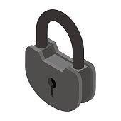 Old Lock isolated. Big padlock on white background