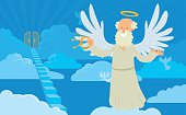Old male angel with gray hair on a heaven background