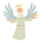 Old male angel with keys in his hand