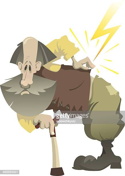 ilustrações de stock, clip art, desenhos animados e ícones de old man e dor de uma espinha dorsal - massagista