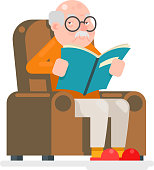 Old Man Characters Read Book Sit Chair Adult Icon Flat