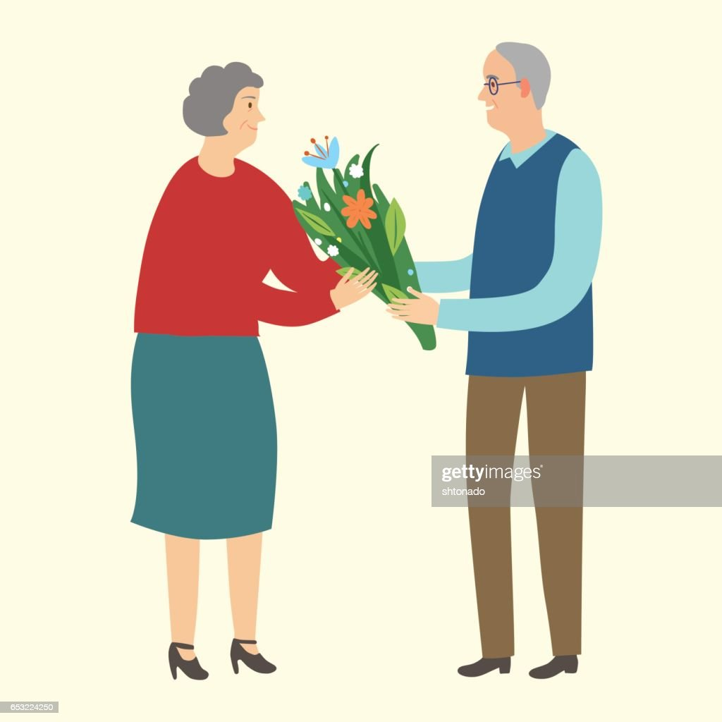 Old man giving a boquet of flowers to old lady