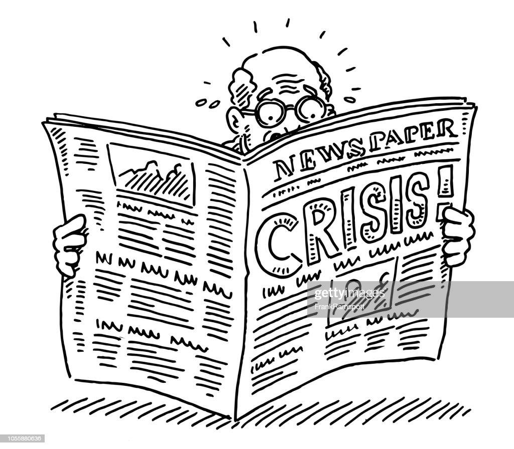 Old Man Reading Newspaper Shocking Crisis Drawing : Ilustração de stock