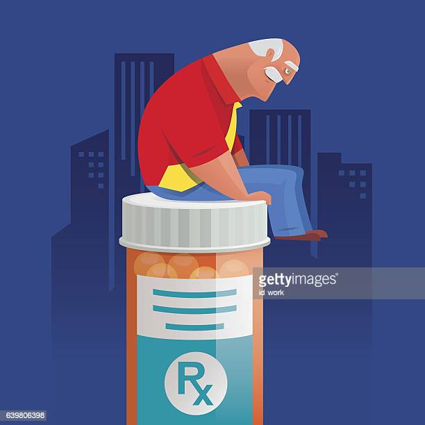 old man  sitting on pill bottle and thinking