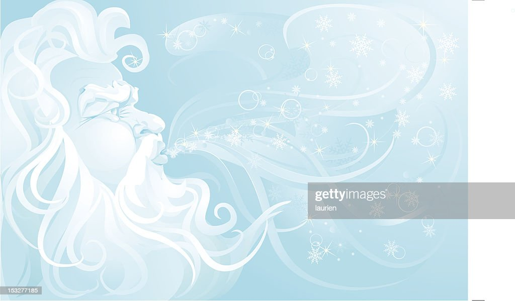 Old Man Winter blowing up a snowstorm. : stock illustration