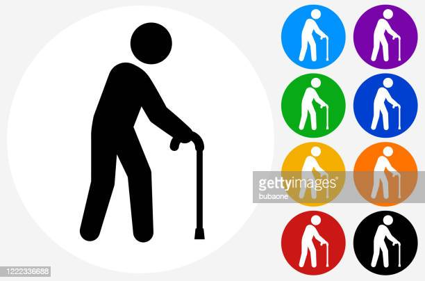 old man with a cane icon - aging process stock illustrations