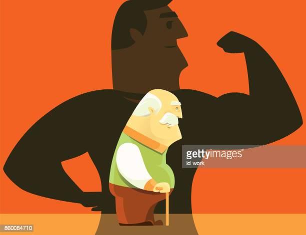 健康な人の影を持つ老人