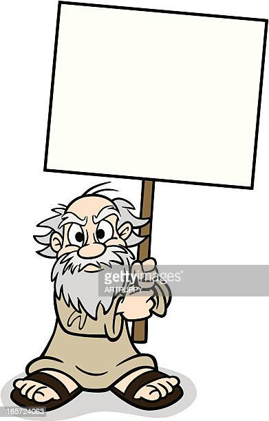 old man with sign - cartoon hobo stock illustrations