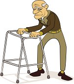 Old man with Walking Frame Cartoon