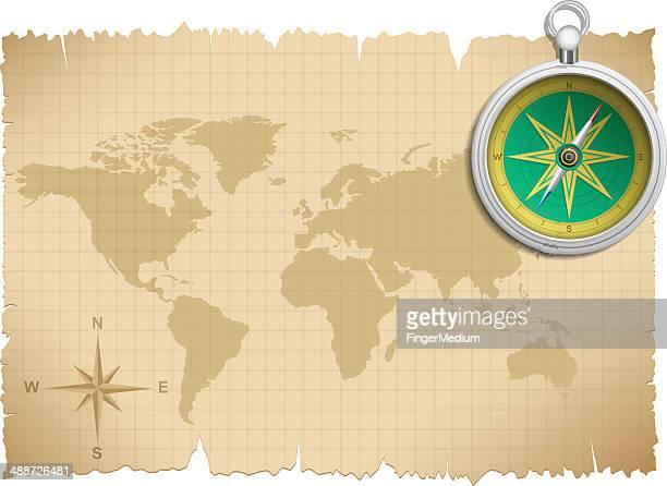 Alte Karte und Kompass