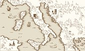 Old map of Italy, Medieval cartography, vector illustration