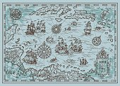 Old map of the Caribbean Sea with pirate ships, treasure islands, fantasy creatures