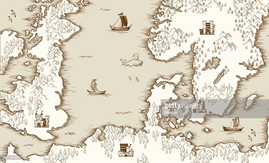 Old map of the North Sea, Britain and Scandinavia, vector illustration