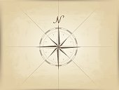 old map on parchment. vector. the compass design in the center.