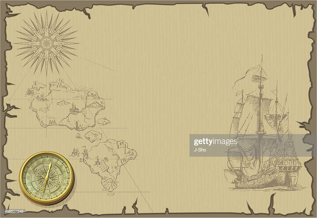 old map wallpaper with ship and islands : Vector Art