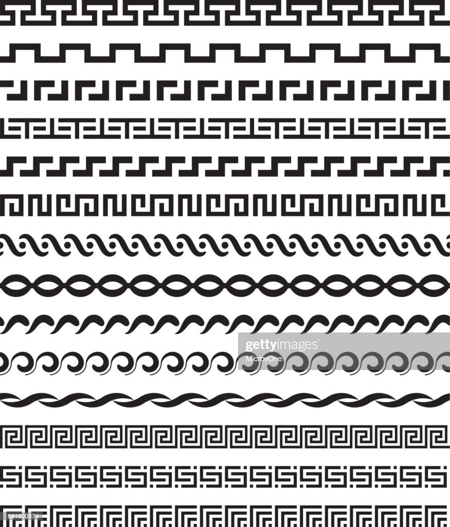 Old mediterranean greek mythology vector pattern repetitive borders set