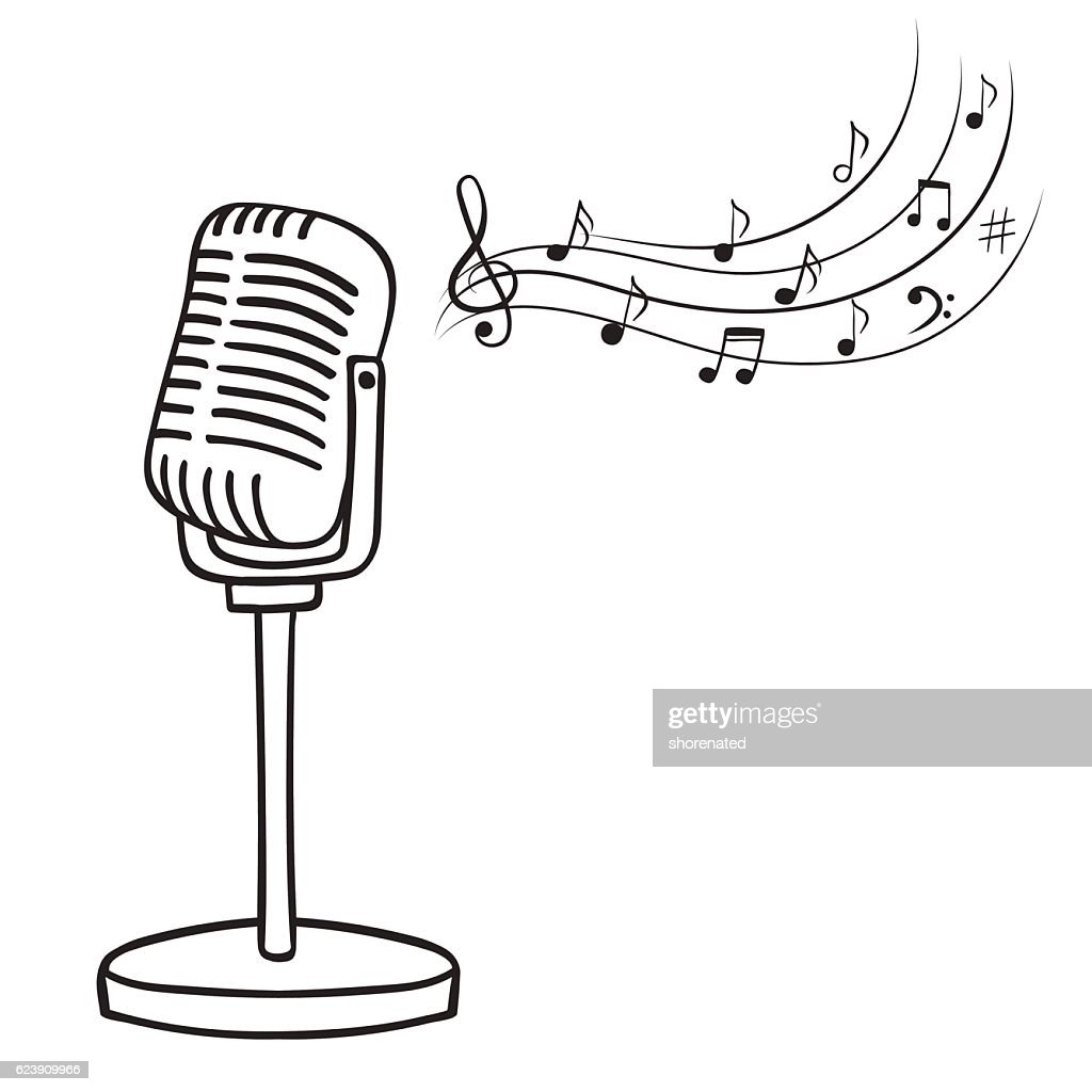 Old microphone and music notes, vector.