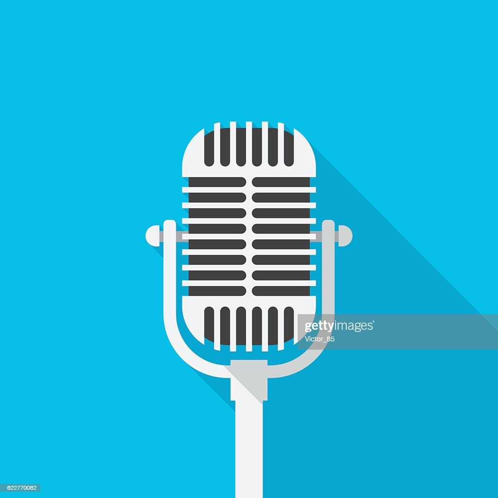 Old microphone icon with long shadow.